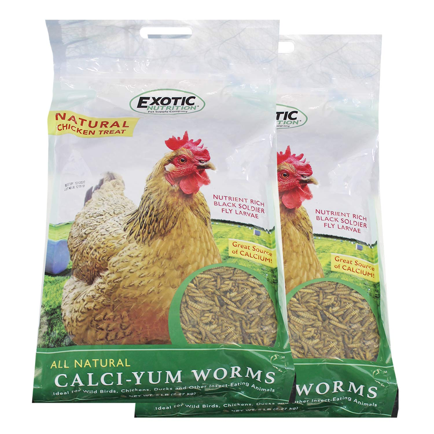 Bulk Dried Calci-Yum Worms (10 lbs.) - Black Soldier Fly Larvae - High-Calcium Insect Treat - Chickens, Wild Birds, Hedgehogs, Bluebirds, Reptiles, Sugar Gliders, Opossums, Skunks, Lizards, Fish by Exotic Nutrition