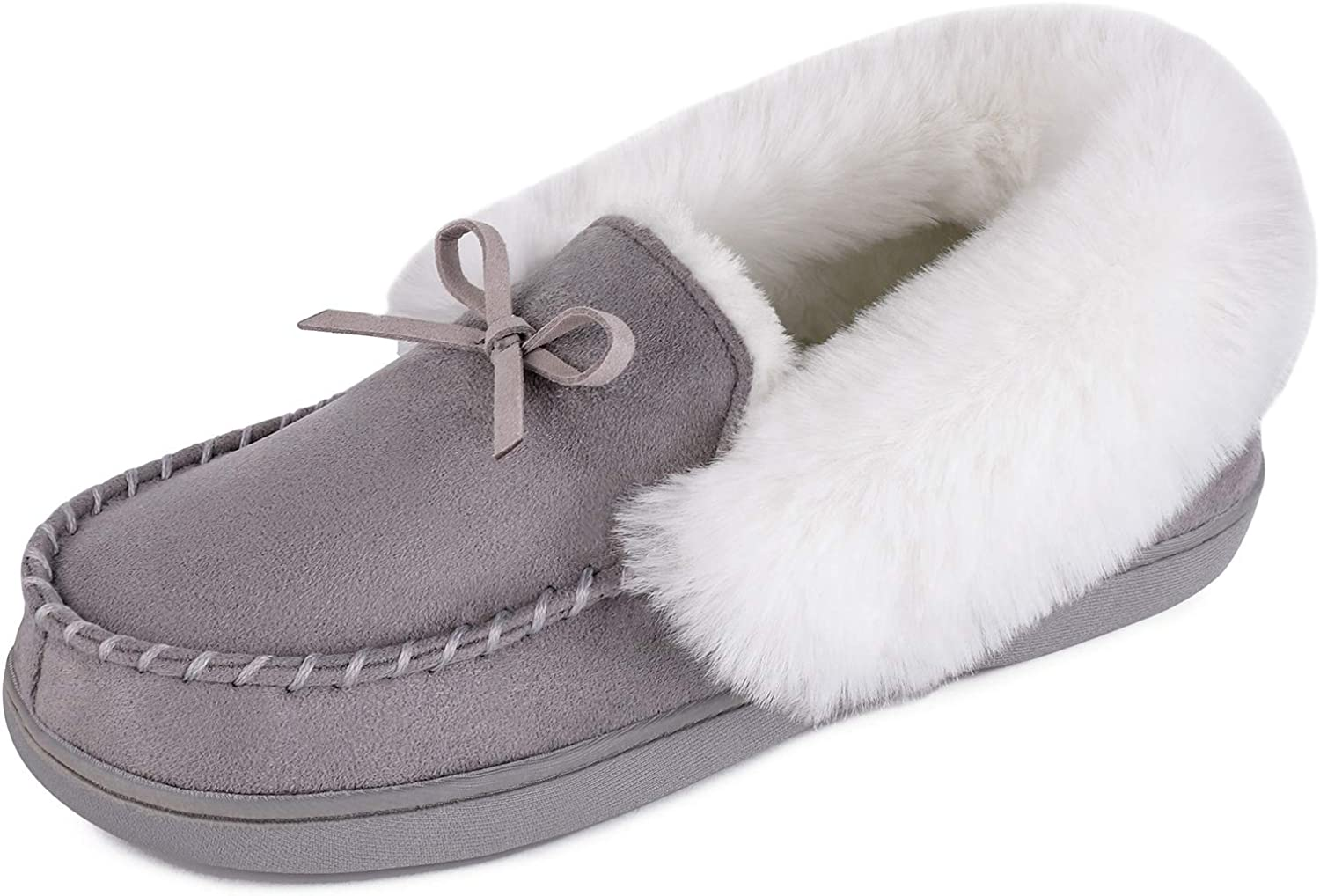 HomeIdeas Women's Faux Fur Lined Suede Moccasins House Slippers, Fuzzy Warm Indoor Outdoor Memory Foam Shoes