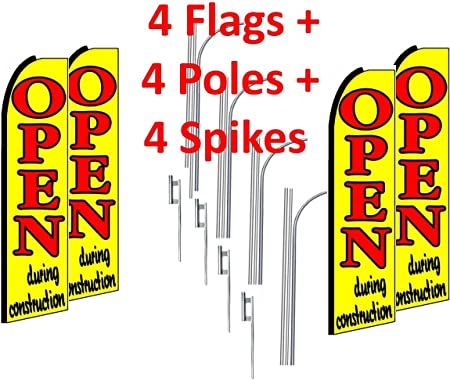 four 4 MATTRESS SALE red//yel 15/' SWOOPER #3 FEATHER FLAGS KIT with poles+spike