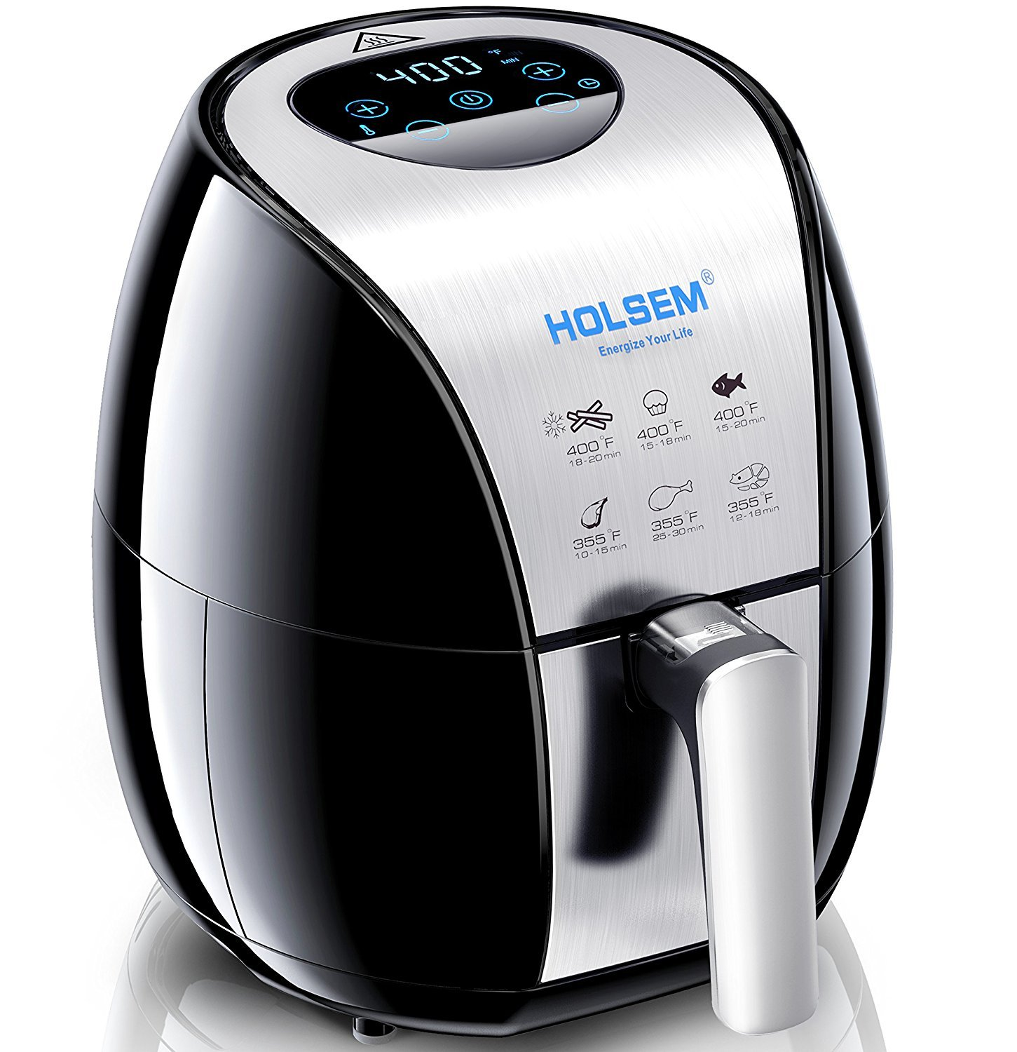 HOLSEM Air Fryer with Rapid Air Circulation System , 3.4 QT Capacity, Temperature up to 400°F, Low Fat Healthy Air Fryer, Black / Stainless Steel, 1500W (LED Display)