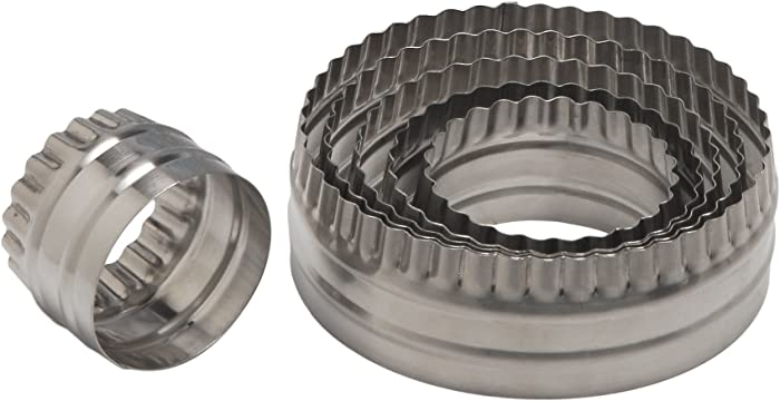 Ateco 14400 Double Sided Large Round Cutters in Graduated Sizes, Fluted & Plain Edges, Stainless Steel, 6 Pc Set