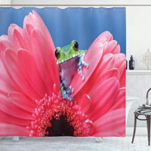 "Ambesonne Animal Shower Curtain, Tiny Little Tree Frog on Gerbera Flower Nature Moments Shoots Art, Cloth Fabric Bathroom Decor Set with Hooks, 70"" Long, Pink Green"