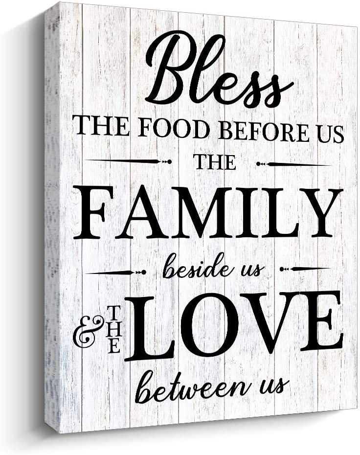Pigort Rustic Kitchen Wall Decor - Bless The Food Before US - Farmhouse Wall Art Home Decorations (white)