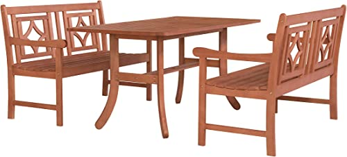 Vifah V189SET43 Tivoli Outdoor 3-Piece Wood Patio Curvy Legs Table Dining Set