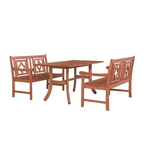 Vifah V189SET43 Tivoli Outdoor 3-Piece Wood Patio Curvy Legs Table Dining Set, Red Brown