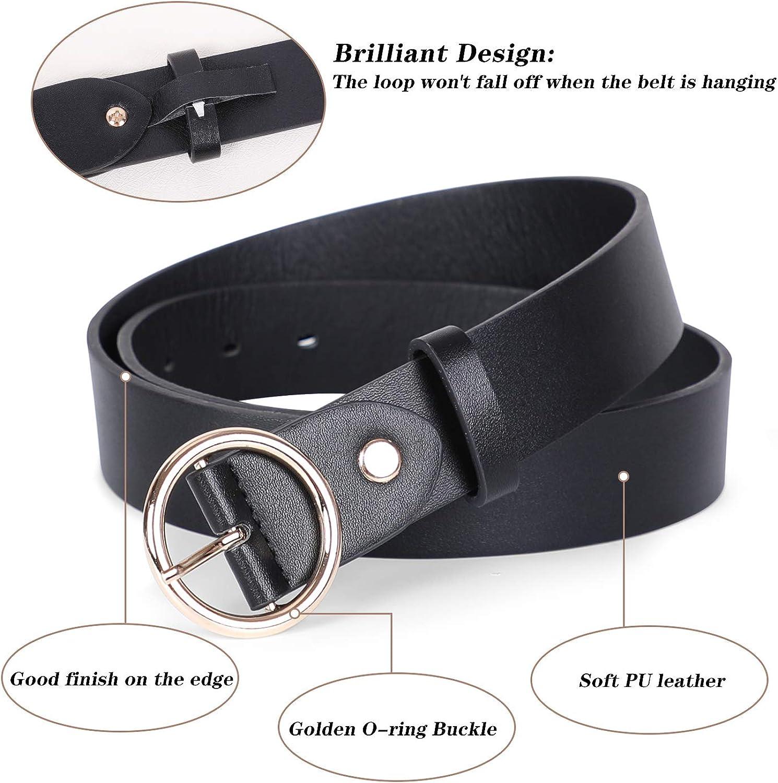 Designer Womens size M//L Faux Leather Dress Business Belt Black Classic Buckle