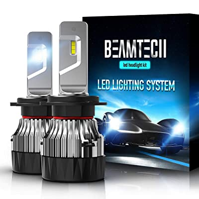 BEAMTECH H7 LED Headlight Bulb,30mm Heatsink Base CSP Chips 10000 Lumens 6500K Xenon White Extremely Super Bright Conversion Kit of 2: Automotive