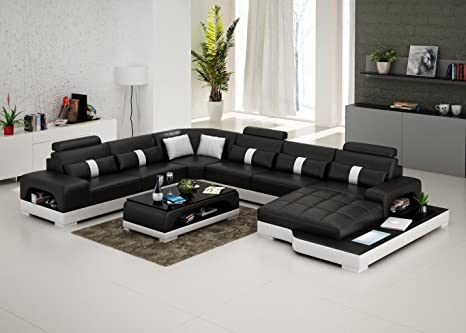 Amazon Com Connie Sectional Sofa Set In Black White With Matching