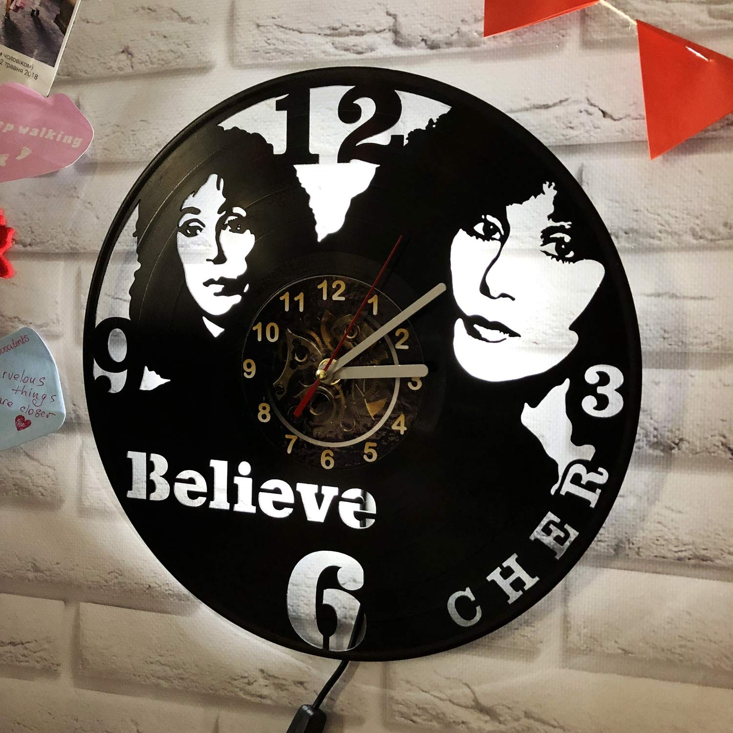 StepArtHouse Wizarding World LED Backlight Vinyl Wall Clock Night Atmosphere Light Lamp Creative Classic Cool Living Room Interior Decor Led Time Clock with Light