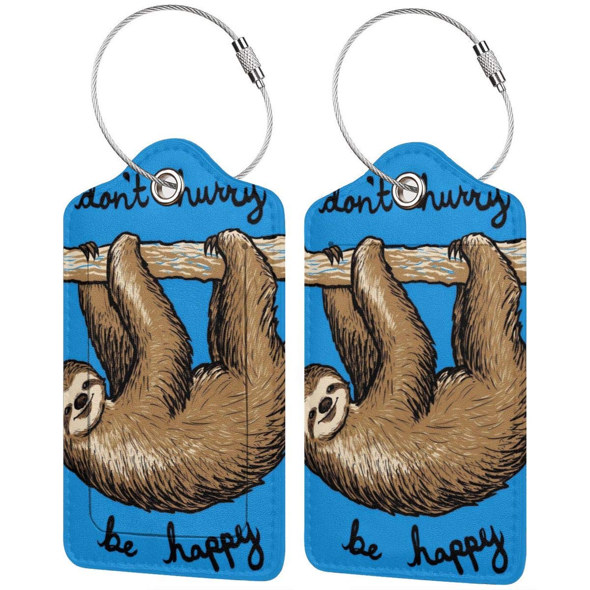 Funny Blue Sloth Luggage Tag Label Travel Bag Label With Privacy Cover Luggage Tag Leather Personalized Suitcase Tag Travel Accessories