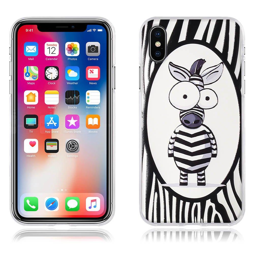 Carcasa Completamente Resistente para iPhone X FUBAODA Funda iPhone X,Carcasa Protectora de Silicona Decorada con una Simp/átic Cebra de Dibujos Animados 5.8