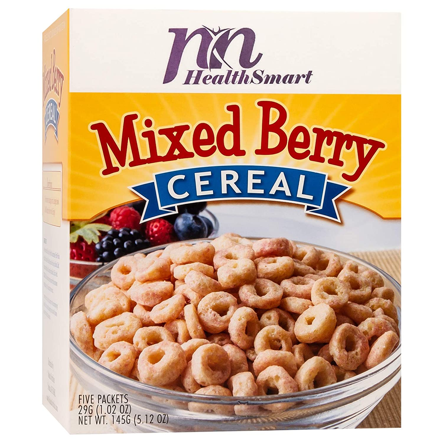 Amazon Com Healthsmart High Protein Mixed Berry Cereal 14g Protein Low Calorie Low Sugar Low Fat Gluten Free Keto Diet Friendly Ideal Protein Compatible 5 Count Box