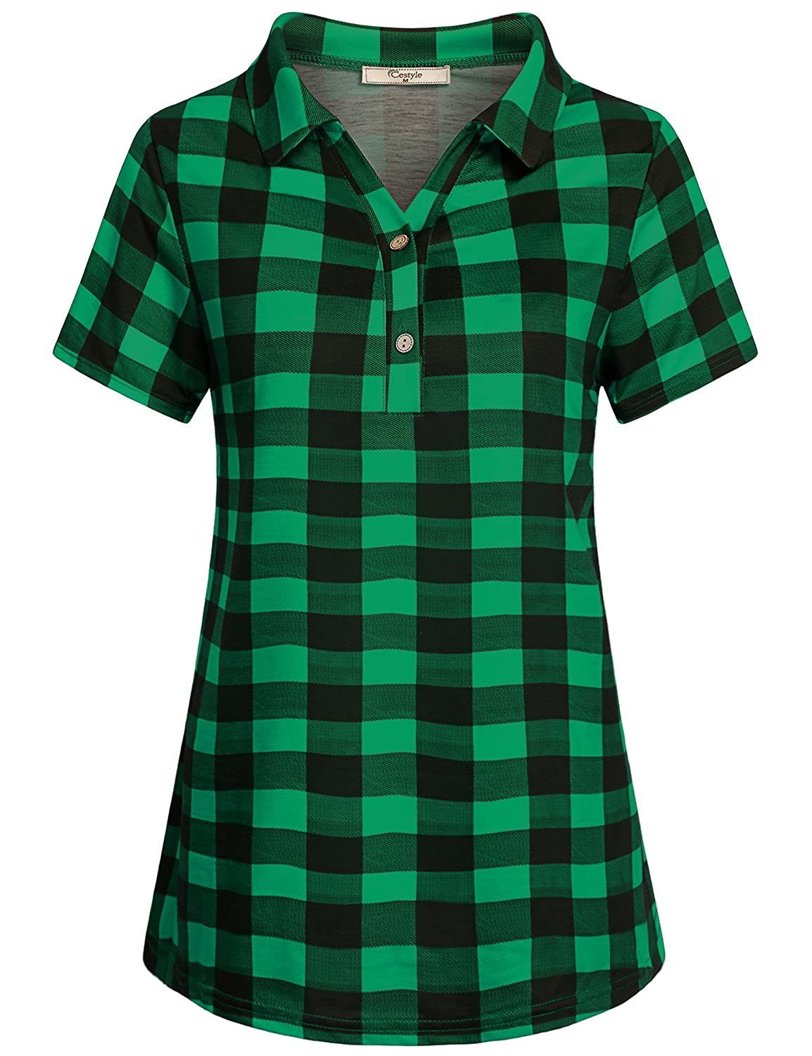Cestyle Womens Casual Short Sleeve Collared Button Down Knit Plaid