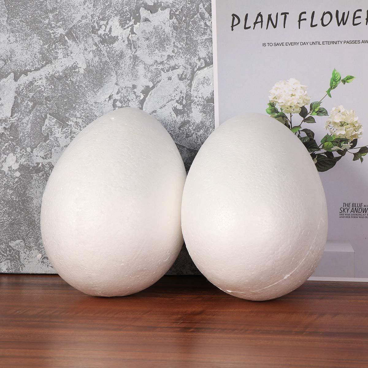 Sfere Decorative per Uova di Pasqua Colore Bianco 2 Pezzi Amosfun in polistirolo 20 cm