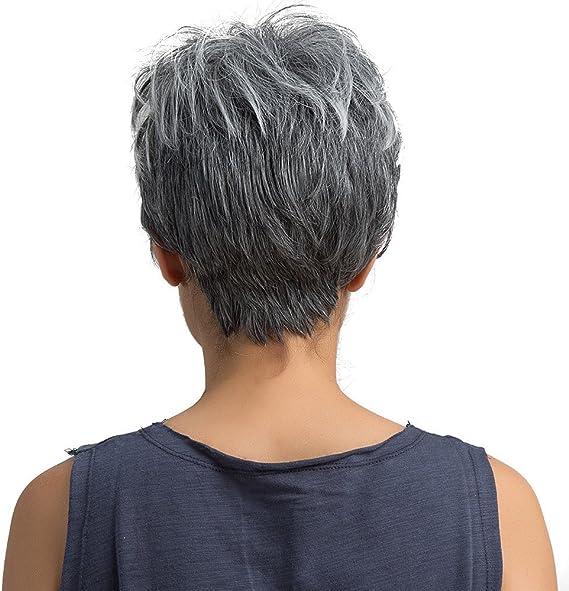 FOTBIMK Peluca de pelo corto natural de color gris claro recto ...