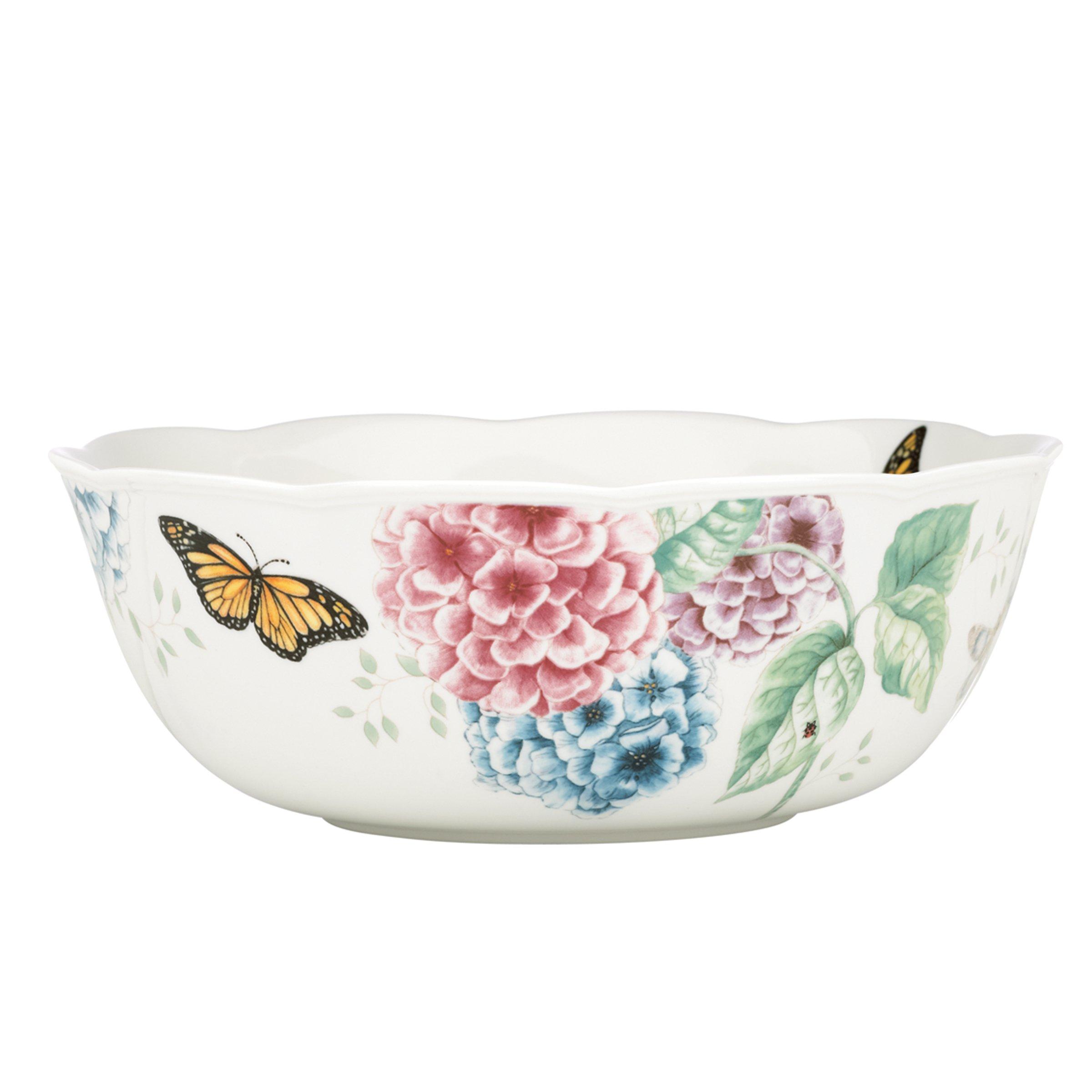 Lenox Butterfly Meadow Hydrangea Serving Bowl, White
