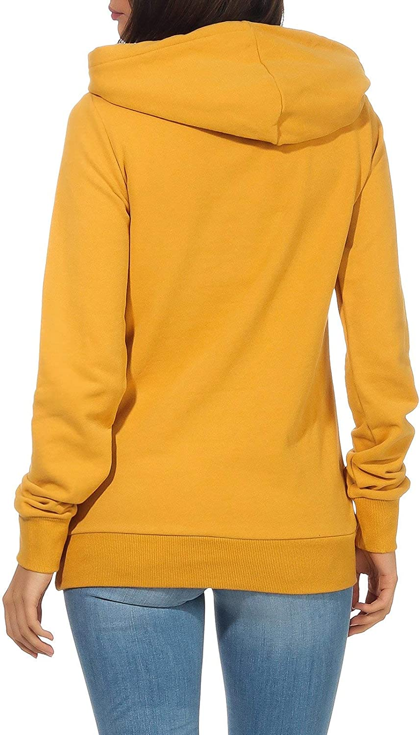Aiki Keylook Damen Hoodie Kapuzen-Sweatshirt Who Way Mustard