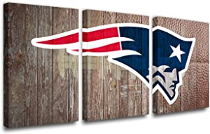 American Football Picture New England Patriots Logo Painting for Living Room 3 Panels Canvas Wall Art Retro Home Decor HD Prints Modern Artwork Giclee Framed Stretched Ready to Hang(42''W x 20''H)