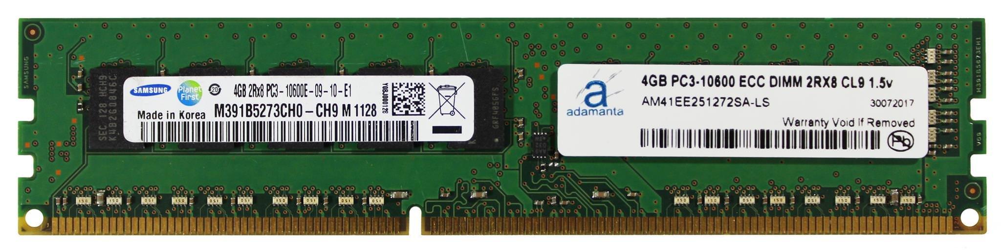Memoria RAM 4GB Adamanta (1x4GB) Server Upgrade para Servers DDR3 1333MHz PC3-10600 ECC Unbuffered 2Rx8 CL9 1.5v DRAM