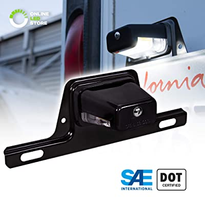 LED License Plate Light for Trailer [Bracket Mount] [DOT FMVSS 108] [SAE L] [Black-Finish] [Waterproof] [12V DC] License Tag Lights for UTV ATV Trailer Truck RV Boat: Automotive