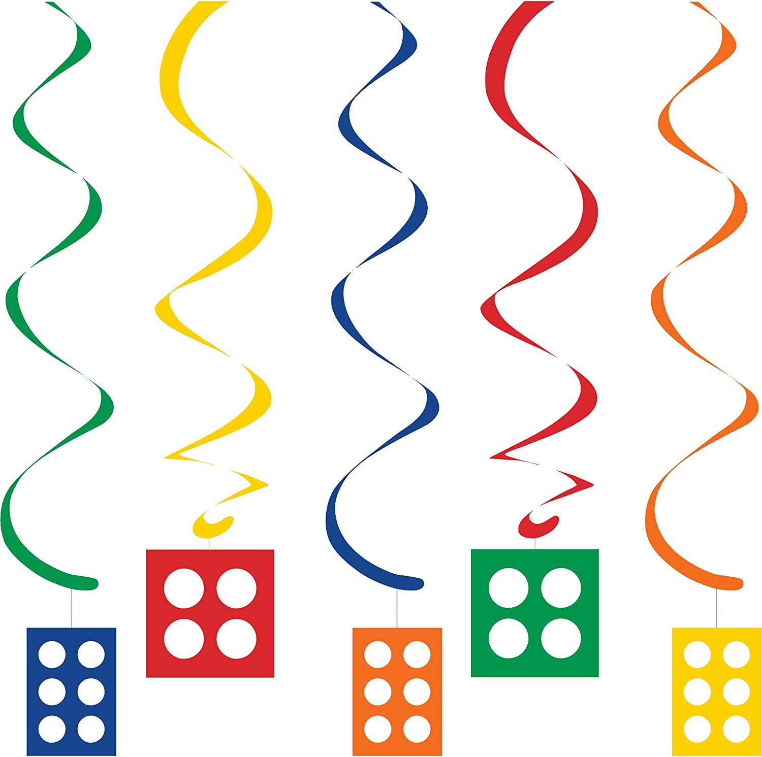 """Creative Converting 5 Dizzy Danglers, Assorted with Cutouts , Multicolored , 39"""" - 315259"""