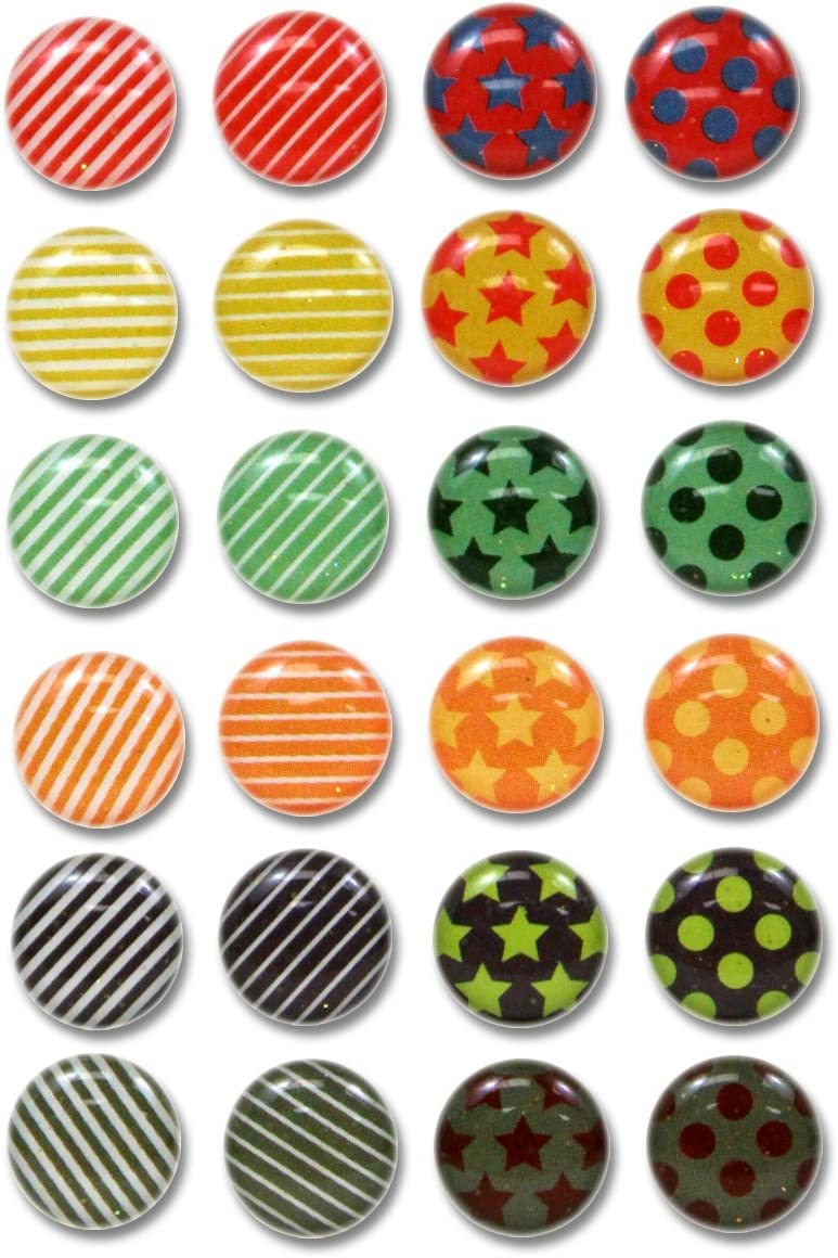 Red Rock 3D Semi-circular Colorful Dots Stripes Stars with Glitter 24 Pieces Bubble Home Button Stickers for iPhone 5 4/4s 3GS 3G, iPad 2, iPad Mini, iTouch
