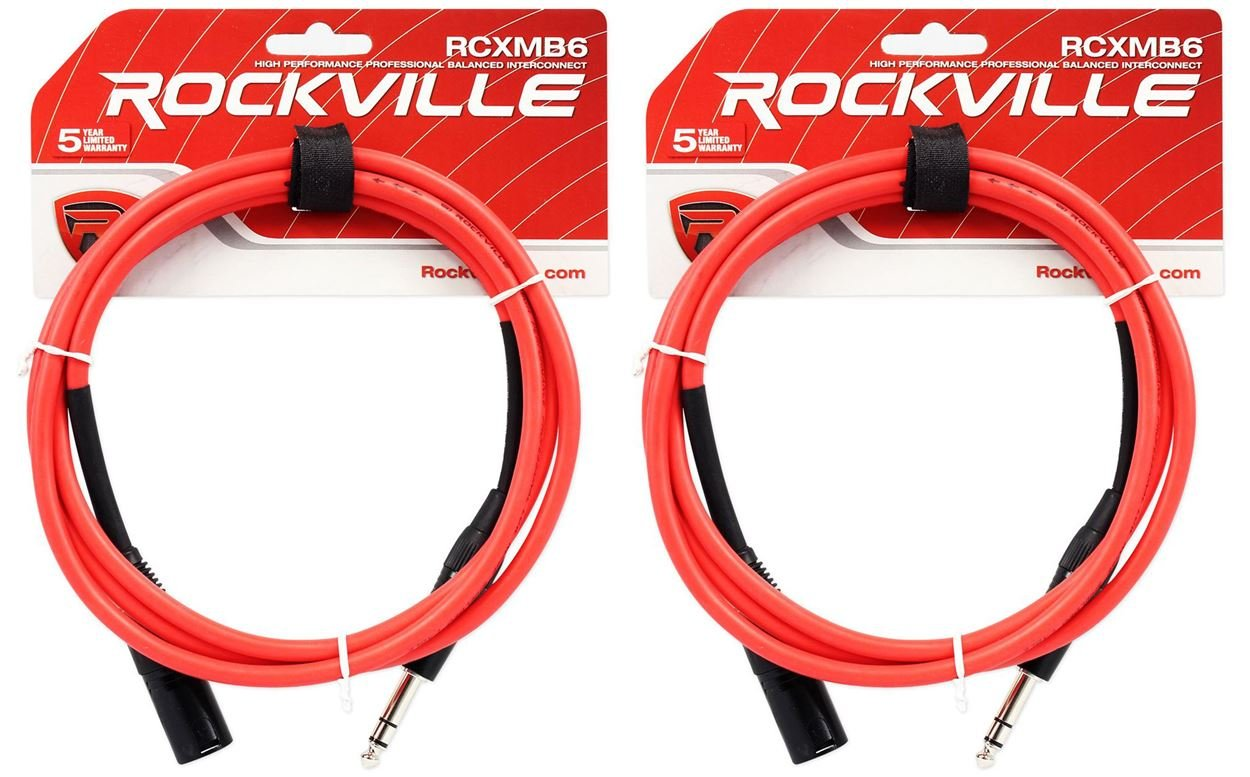 2 Rockville RCXMB10-P Purple 10/' Male REAN XLR to 1//4/'/' TRS Balanced Cables