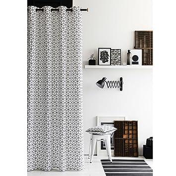 TODAY Rideau 100% coton 3D 140x240 cm blanc et noir: Amazon.de ...