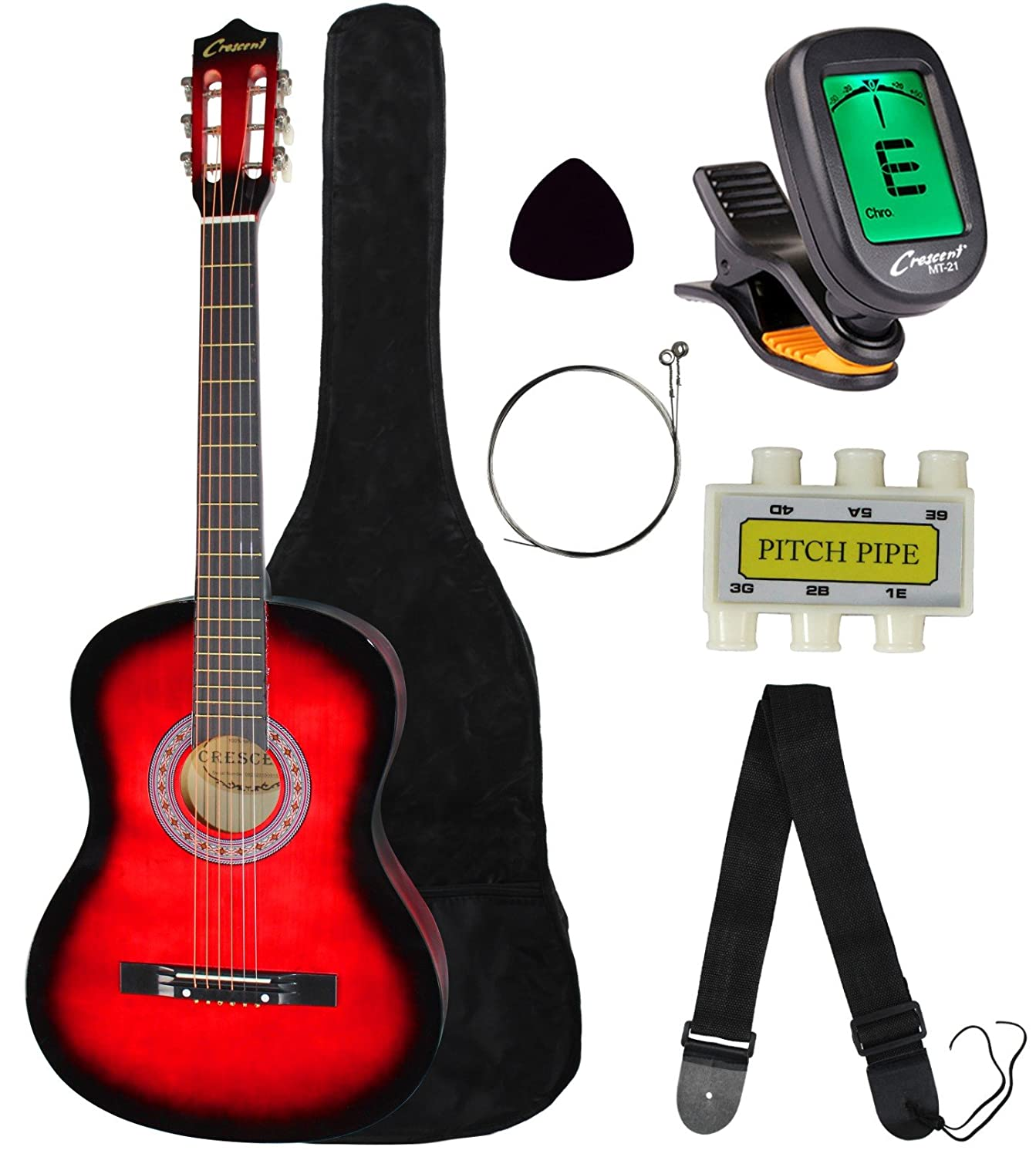 Crescent MG38-PUL 38 Acoustic Guitar Starter Package, Purple (Includes CrescentTM Digital E-Tuner)