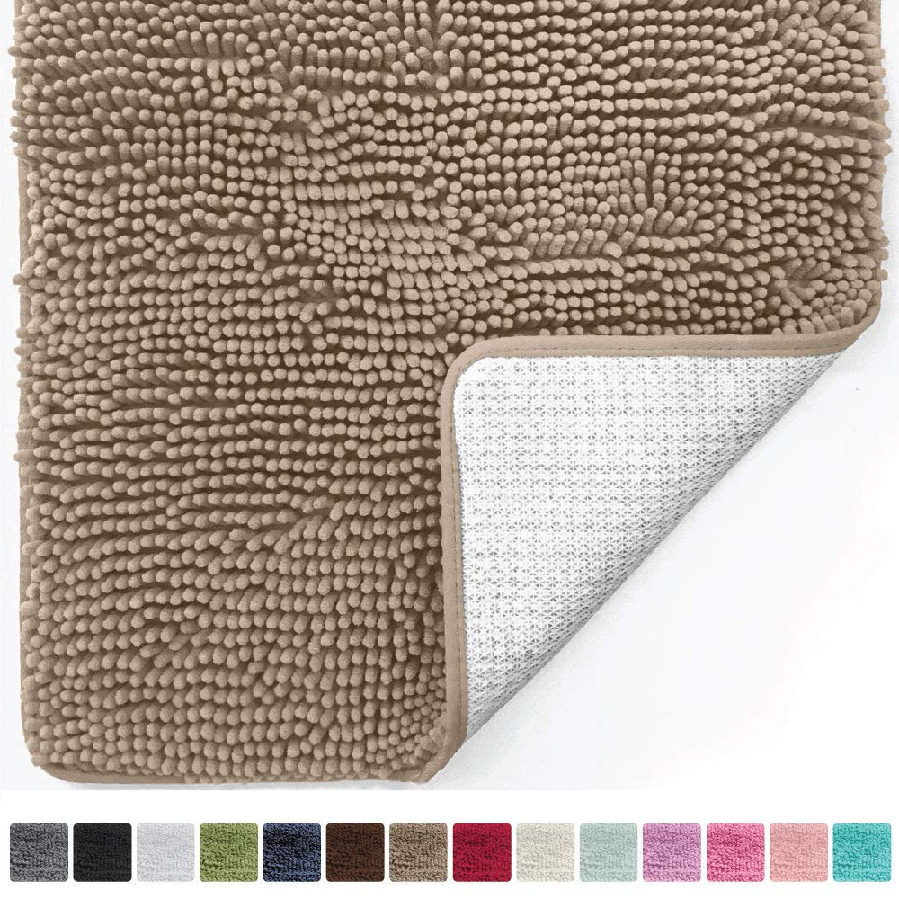 Gorilla Grip Original Luxury Chenille Bathroom Rug Mat (30 x 20), Extra Soft and Absorbent Shaggy Rugs, Machine Wash/Dry, Perfect Plush Carpet Mats for Tub, Shower, and Bath Room (Beige)