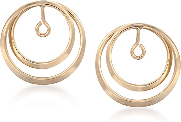 14K Yellow Gold Double Circle Earring Jackets for Studs