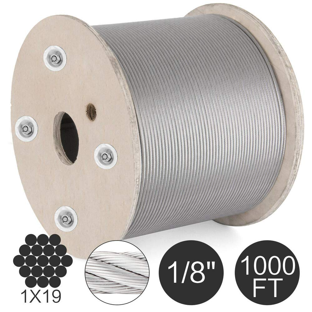 New - 1 Pcs - Compatible with 1/8'' 1x19 Stainless Steel Cable Wire Rope 1000 ft Galvanized Great 1T WLL PRO.