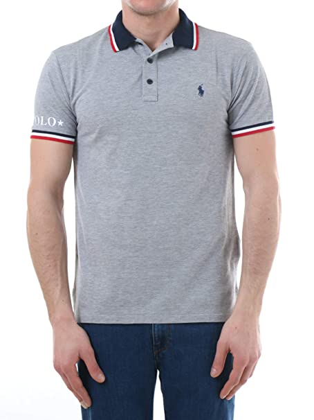 Ralph Lauren Custom Slim Fit Polo T Shirt Grey 710753174-001 ...