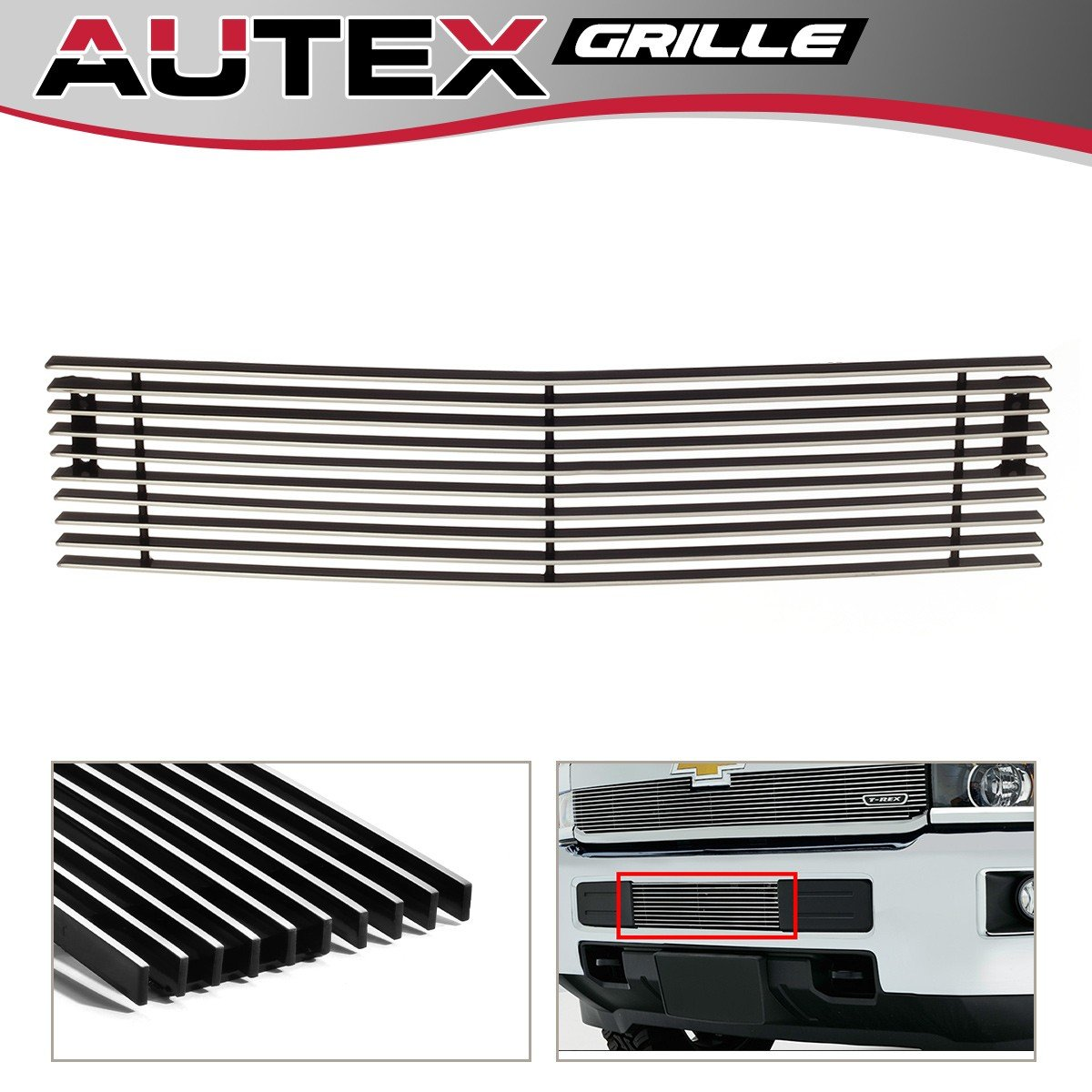 AUTEX Lower Bumper Billet Grille Insert Chrome Aluminum Polished C66319A for 2015 - 2017 Chevy 2500HD 3500HD PartsSquare