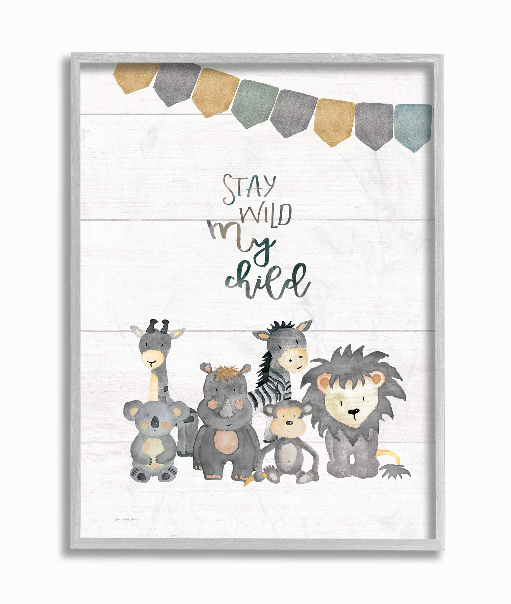 The Kids Room by Stupell Stay Wild My Child Animals Framed Giclee Texturized Art, 16x20, Multi-Color by The Kids Room by Stupell
