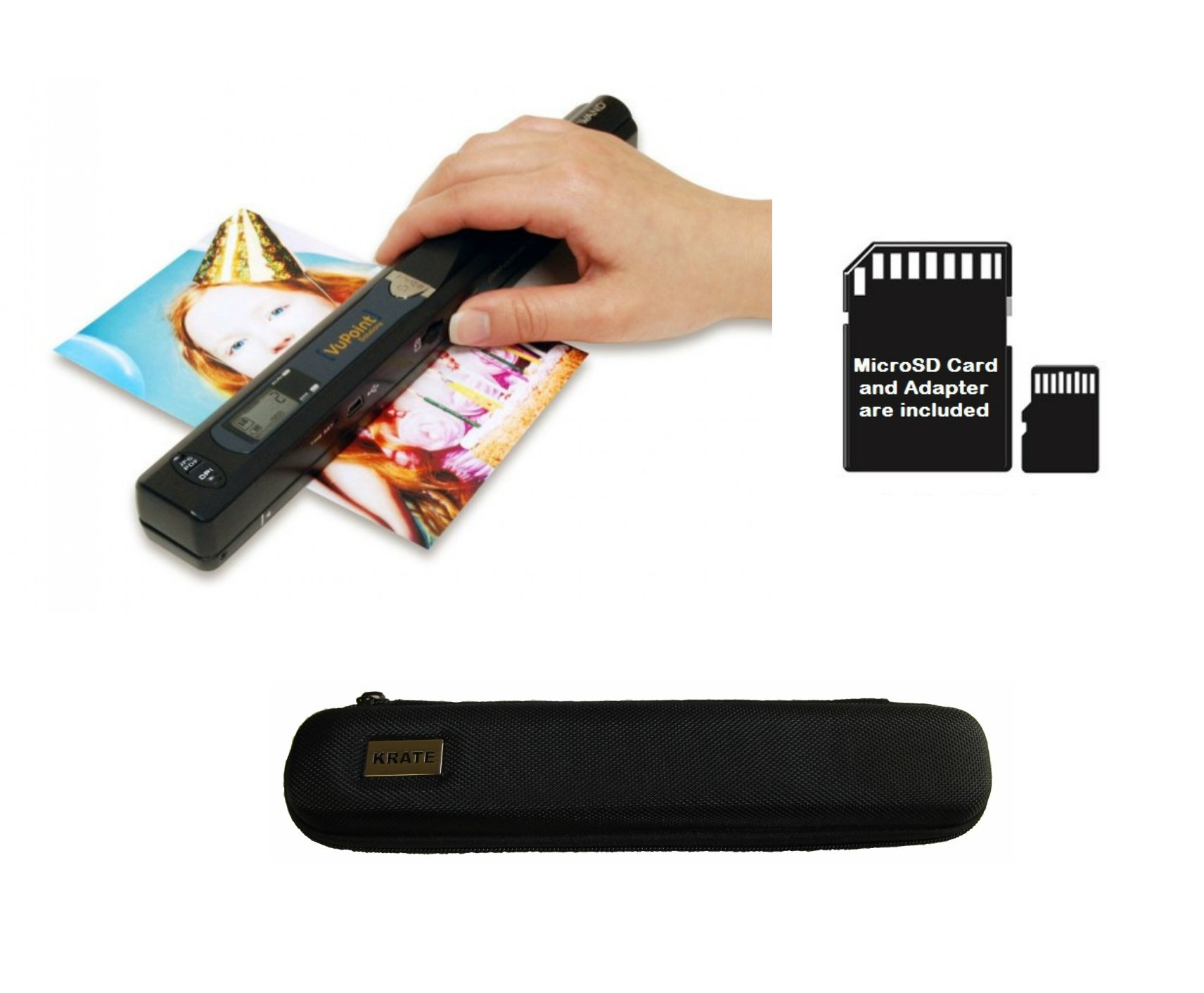 Magic Wand VuPoint Portable Scanner with Carrying Case & 4GB MicroSD Card