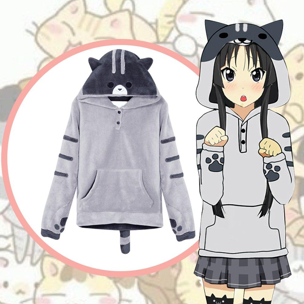 Amazon com tomori anime sweatshirt neko atsume hoodie cute cat cosplay costume fleece clothing