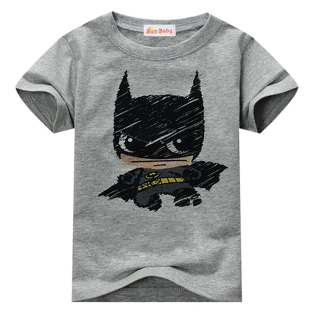 Toddler T-shirt for Batman Fans Superhero Graphic Short Sleeve Cotton Tee by Sun Baby,Gray,3-4 Years