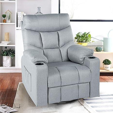 Magnificent Esright Grey Fabric Massage Recliner Chair 360 Degrees Swivel Heated Ergonomic Lounge Chair Machost Co Dining Chair Design Ideas Machostcouk