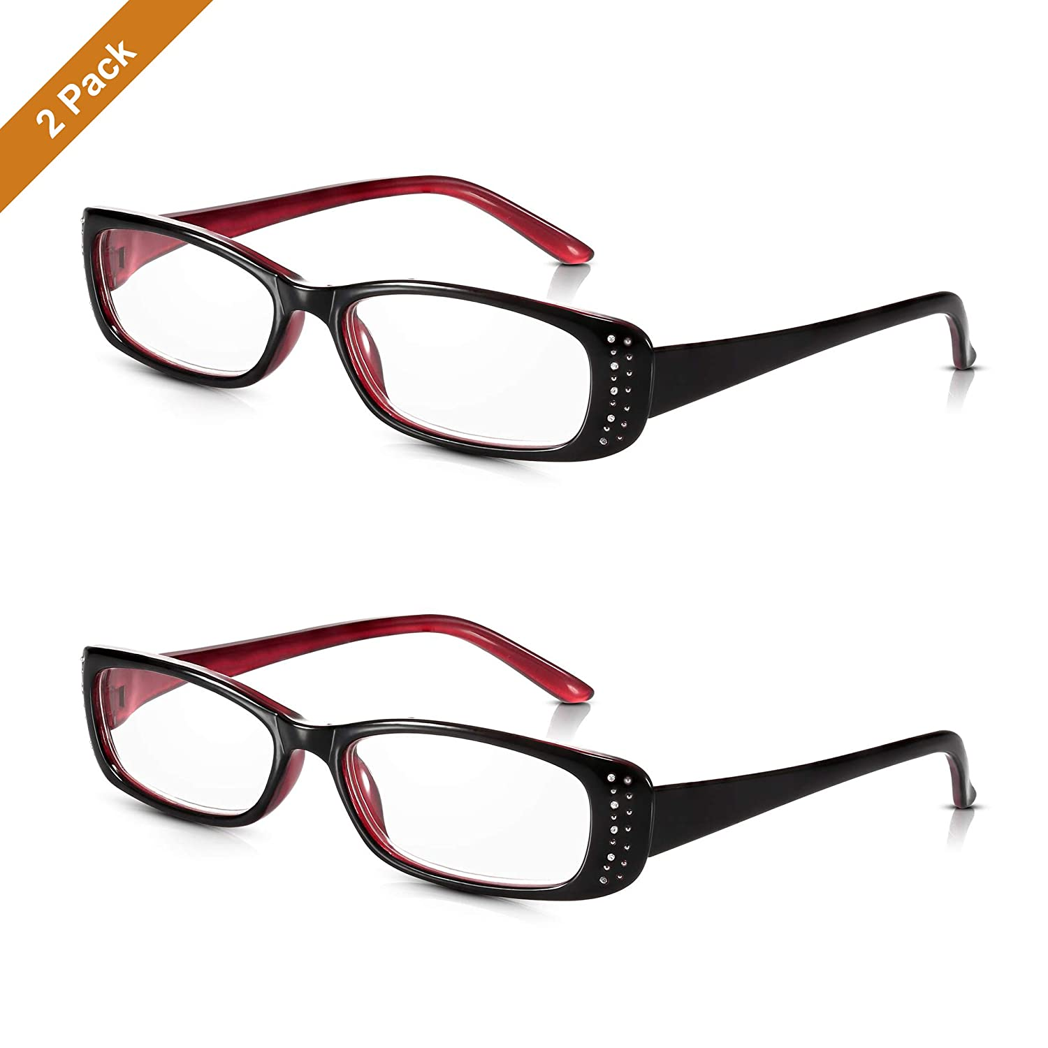1.50 Pretty Readers for Ladies with Diamante Studs in Chic Crystal BlackBerry and Pink Blush Lightweight Polycarbonate with Oval Optical Quality Lenses Read Optics Womens Reading Glasses Durable