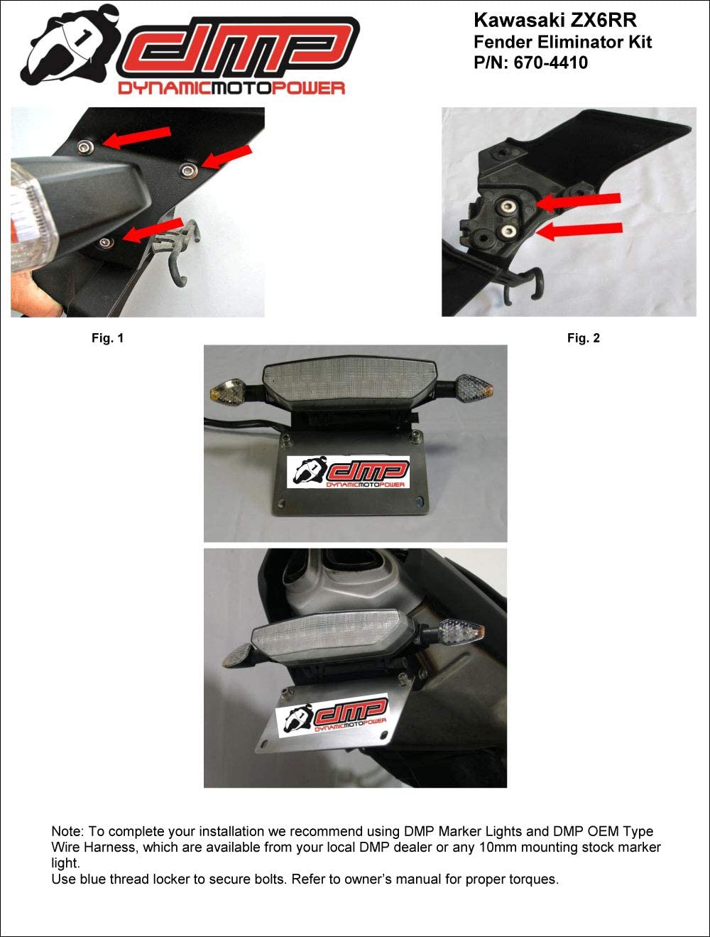 MADE IN THE USA 675-4410 2007-2008 Kawasaki ZX6R Fender Eliminator Kit; Includes Turn Signals and Plate Lights