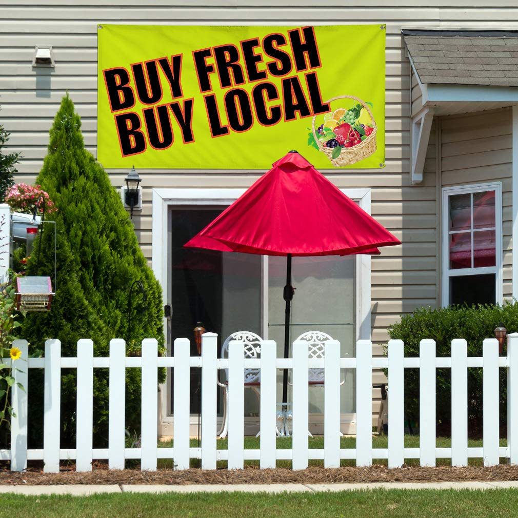 Multiple Sizes Available 8 Grommets Vinyl Banner Sign Buy Fresh Buy Local #1 Outdoor Marketing Advertising Yellow 44inx110in One Banner
