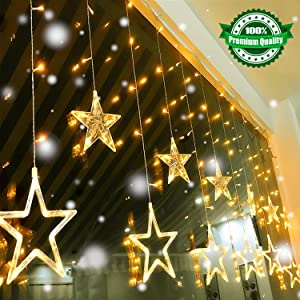 Led String Lights, Quntis Star Curtain Lights Indoor 110V 3M(W) x2M(H) Warm White 12 Stars 138 LEDs Window Icicle Decor Lighting for Home Garden Holiday Wedding Christmas Party Backdrops
