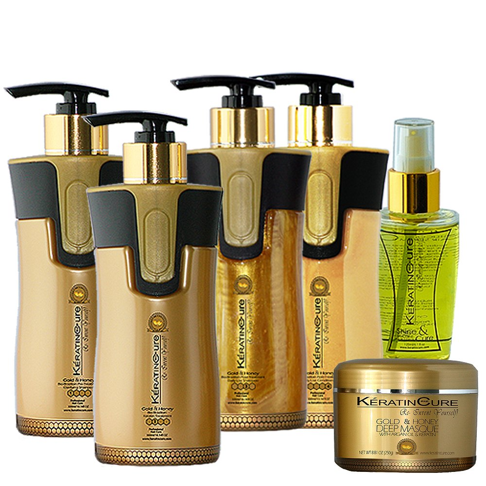 Keratin Cure 0% Formaldhyde Gold & Honey Bio-Brazilian 10.14 oz 6 piece Kit Gold & Honey 300 ML Keratin Cure