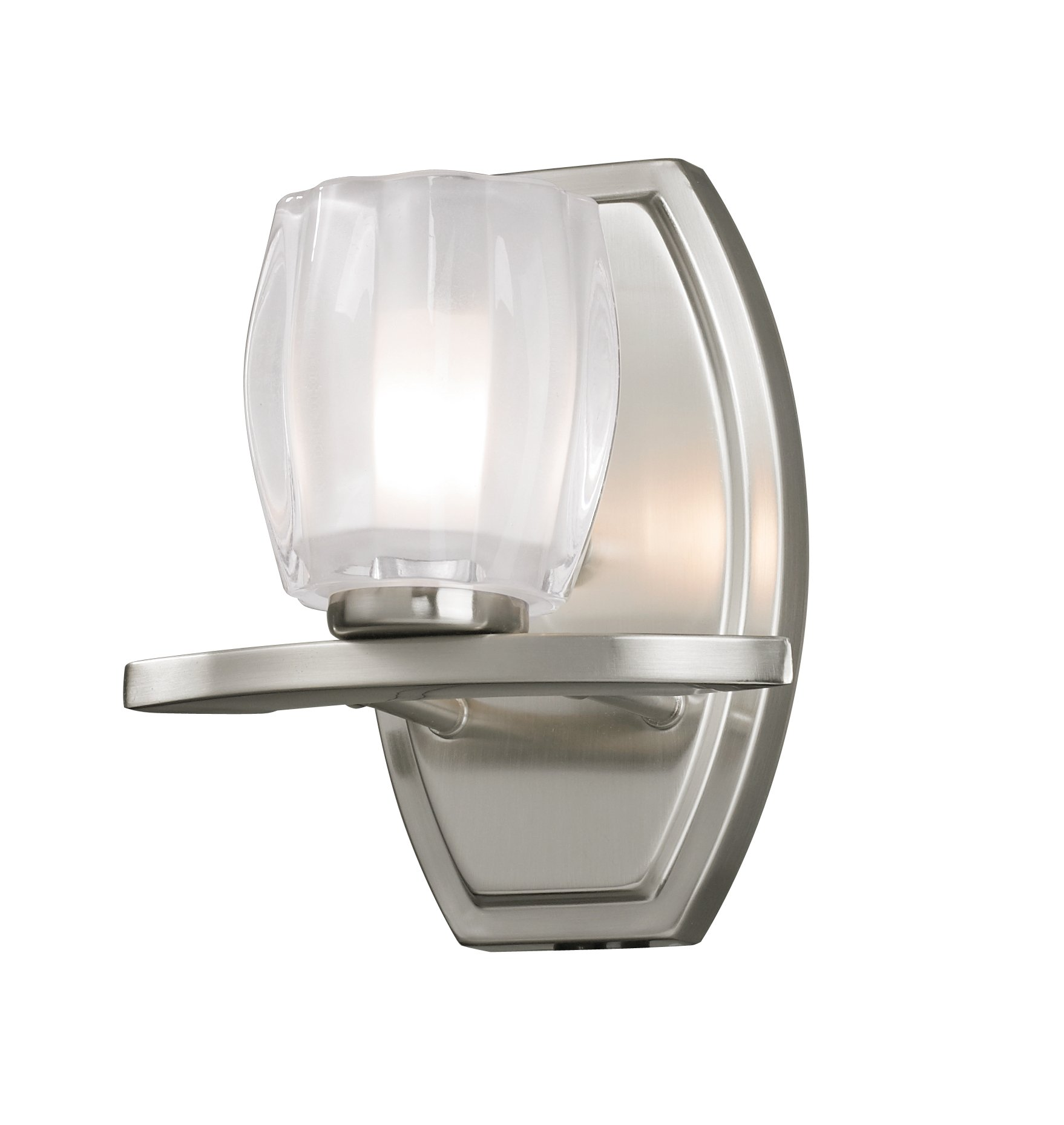 Z-Lite 3017-1V Haan One Light Vanity Light, Steel Frame, Brushed Nickel Finish and Matte Opal Glass Shade of Glass Material