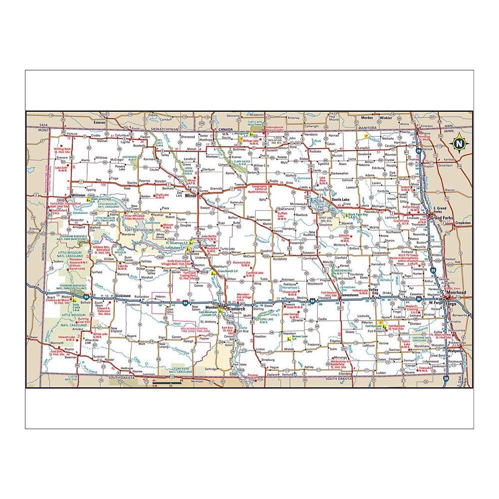 Amazon.com: Media Storehouse 10x8 Print of North Dakota Highway map ...