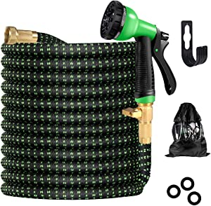 Smarteven Garden Hose, Leakproof Lightweight Retractable Water Hose with 8 High Pressure Spray Nozzle, Expandable & Durable Garden Hoses Holder for Car/Pet/Yard (50 FT)