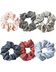 Hair Srunchies,6 Style Elastic Striped Hair Bands for Girls Women,Hair Bow Chiffon Ponytail Holder,Colorful Hair Scrunchy Bobbles Soft Hair Bands Ties Headband (A)