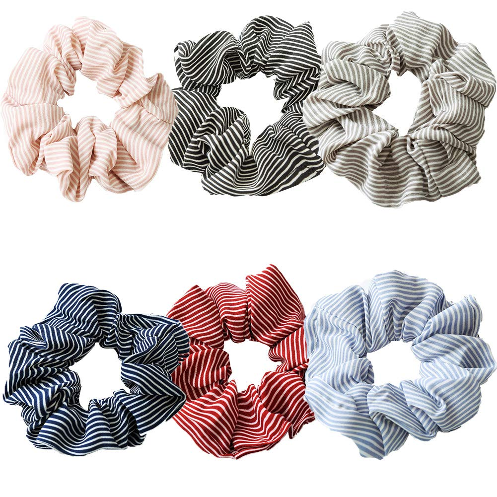 Hair Srunchies,6 Style Elastic Striped Hair Bands for Girls Women,Hair Bow Chiffon Ponytail Holder,Colorful Hair Scrunchy Bobbles Soft Hair Bands Ties Headband (A) Vidillo