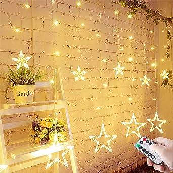 LED Lichterkette mit LED Kugel 12 Sterne 138 Leuchtioden Lichtervorhang Sternenvorhang 8 Modi Innen & Außenlichterkette Wasse